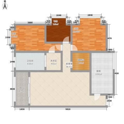 万泉水郡3室0厅1卫1厨165.00㎡户型图