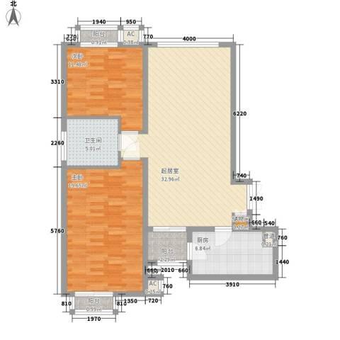地汇华商国际公寓2室0厅1卫1厨116.00㎡户型图