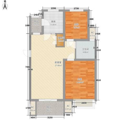 天华绿谷庄园2室0厅1卫1厨82.00㎡户型图