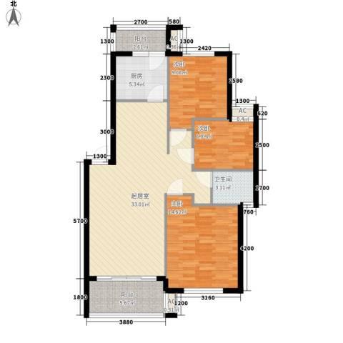 华韵城市风情3室0厅1卫1厨123.00㎡户型图