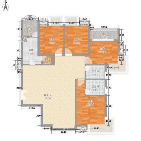 咸嘉新村嘉华苑4室1厅2卫1厨131.00㎡户型图