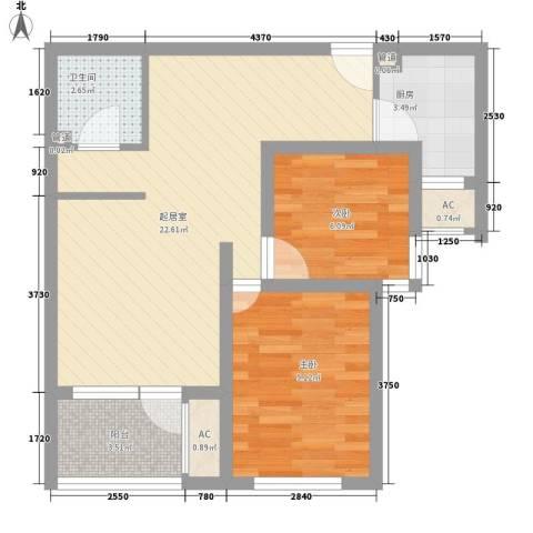 隆岗新村2室0厅1卫1厨73.00㎡户型图