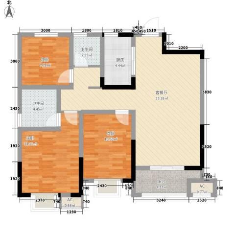 尚泽时代广场3室1厅2卫1厨110.00㎡户型图