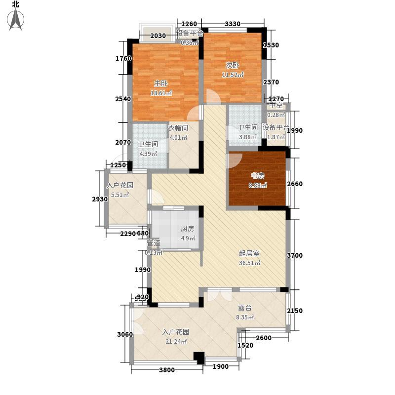 西郡英华绿荫里组团129.00㎡D3户型三层平面图户型3室2厅2卫1厨