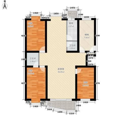 东南阳光3室0厅2卫1厨125.00㎡户型图