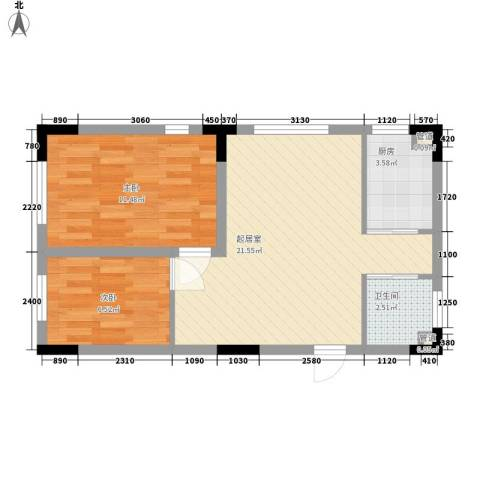 安达天下2室0厅1卫1厨68.00㎡户型图