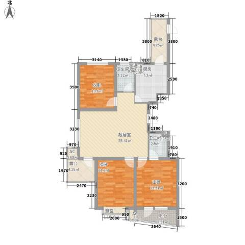 星富花园3室0厅2卫1厨129.00㎡户型图