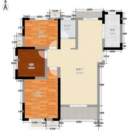 尚泽时代广场3室1厅1卫1厨104.00㎡户型图