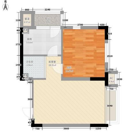 安达天下1室0厅1卫1厨59.00㎡户型图