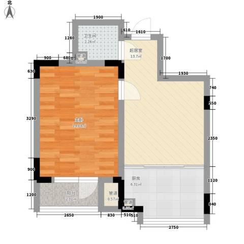 安达天下1室0厅1卫1厨53.00㎡户型图
