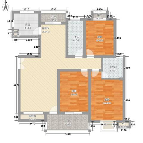 鸿益千秋3室1厅2卫1厨120.00㎡户型图