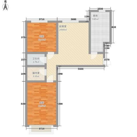 都市新村2室0厅1卫1厨82.00㎡户型图