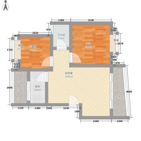 南沙玫瑰花园一期2室0厅1卫1厨65.00㎡户型图