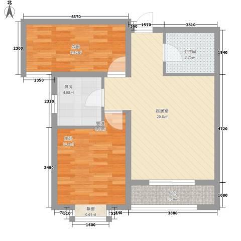 隆岗新村2室0厅1卫1厨75.00㎡户型图