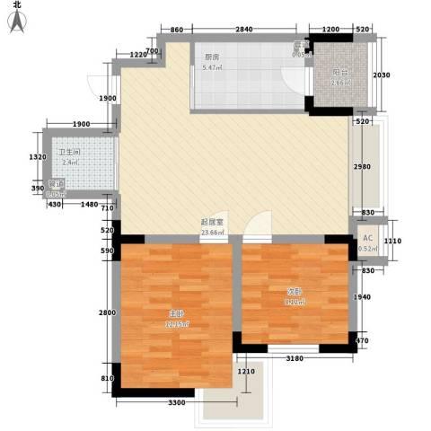 安达天下2室0厅1卫1厨73.00㎡户型图
