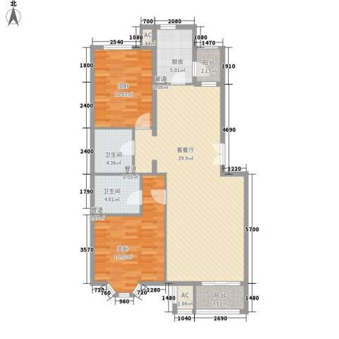 学风19112室1厅2卫1厨109.00㎡户型图