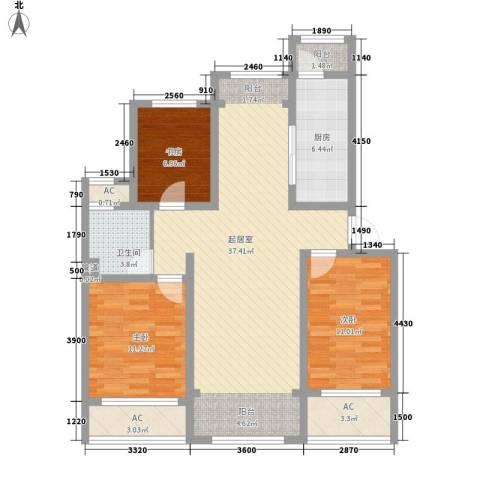 绿地世纪城3室0厅1卫1厨125.00㎡户型图