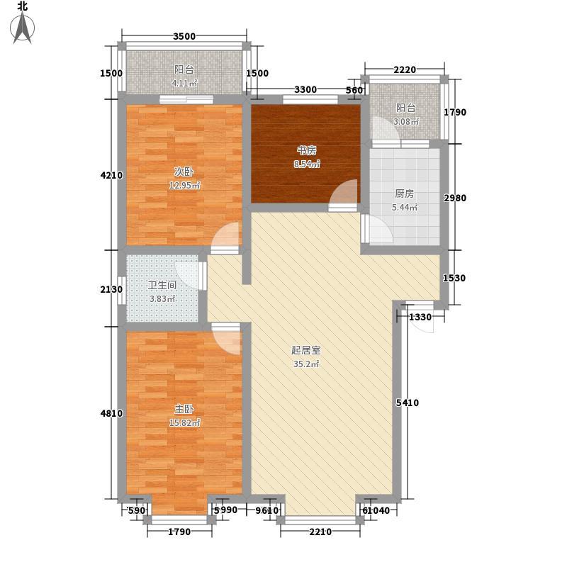 西区御景109.79㎡J户型3室2厅1卫1厨