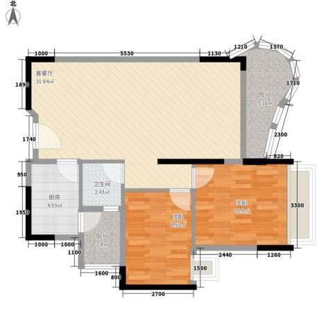 鹿茵华庭2室1厅1卫1厨87.00㎡户型图