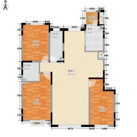 一品红城五期3室1厅2卫1厨143.00㎡户型图