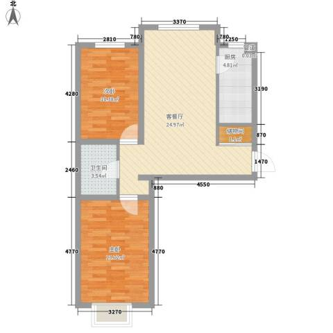 碧水蓝山2室1厅1卫1厨84.00㎡户型图