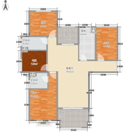 博威黄金海岸4室1厅2卫1厨141.00㎡户型图