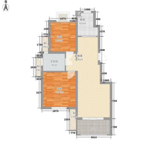 天华绿谷庄园2室0厅1卫1厨89.00㎡户型图