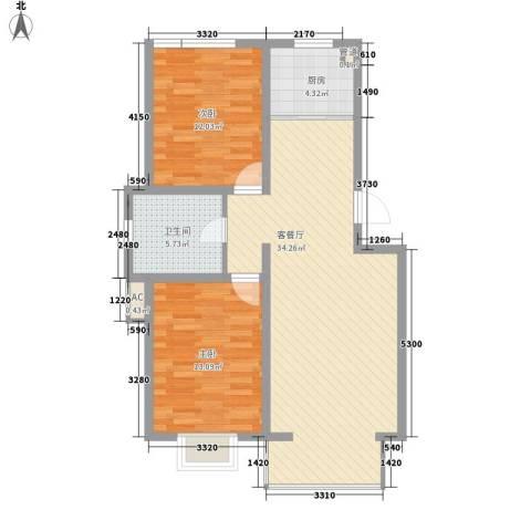 碧水蓝山2室1厅1卫1厨98.00㎡户型图