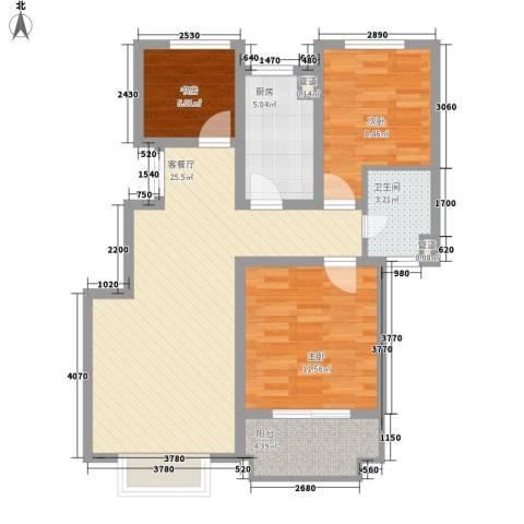 博威黄金海岸3室1厅1卫1厨93.00㎡户型图