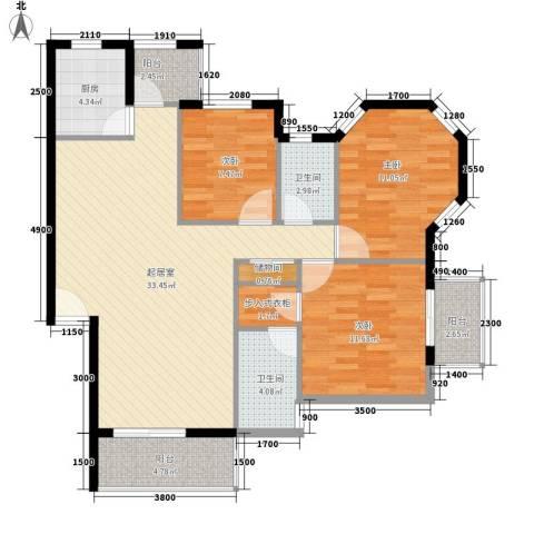 万科四季花城3室0厅2卫1厨112.00㎡户型图