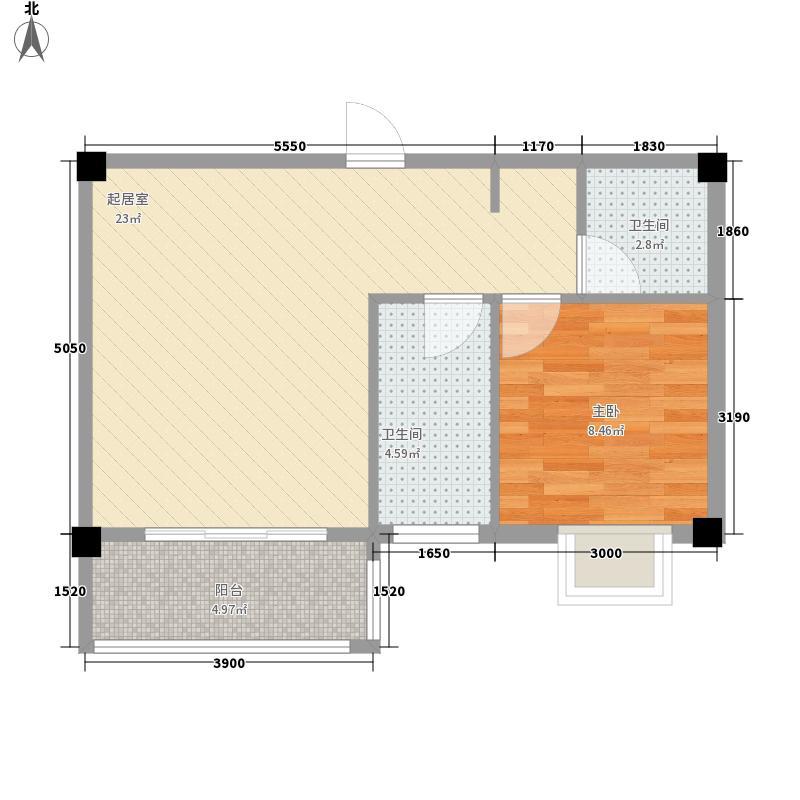 聚金兰庭54.80㎡A2户型1室1厅1卫1厨