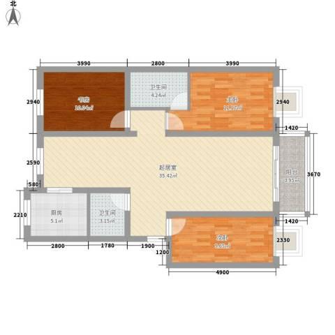 荣江兴旺领地3室0厅2卫1厨120.00㎡户型图