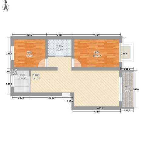 荣江兴旺领地2室1厅1卫1厨82.00㎡户型图