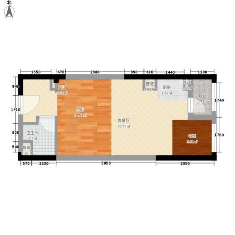 龙湖时代天街1厅1卫0厨49.00㎡户型图