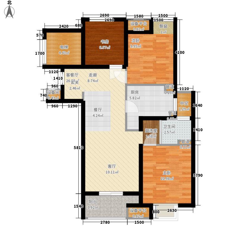 万科淮海天地94.86㎡B1四街区2#1单元3室户型