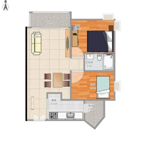 光大花园榕上居2室1厅1卫1厨76.00㎡户型图