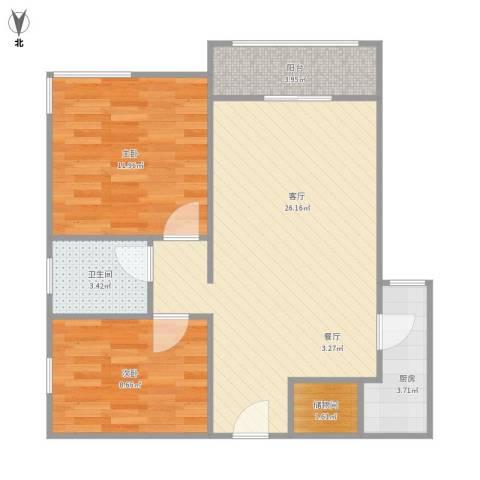 大运盛城四期2室1厅1卫1厨81.00㎡户型图