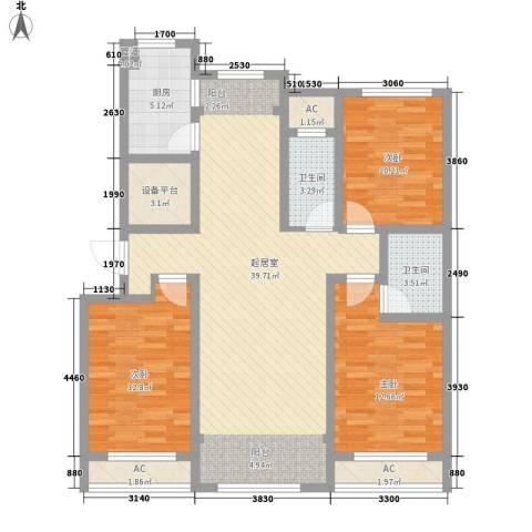 绿地世纪城3室0厅2卫1厨140.00㎡户型图