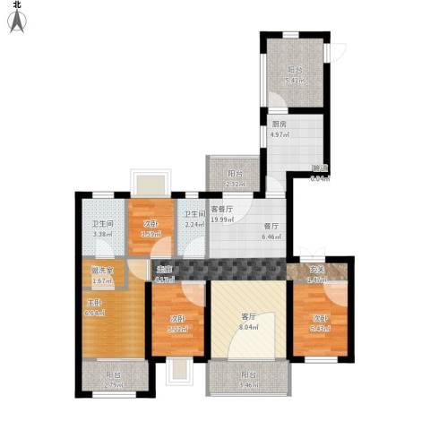 中海九号公馆4室1厅2卫1厨99.00㎡户型图