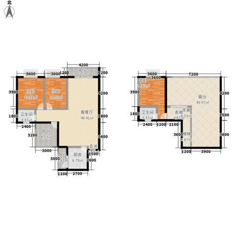 上河城3室1厅2卫1厨168.15㎡户型图