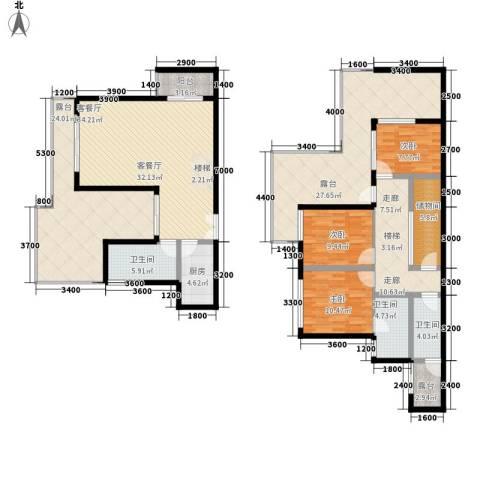 上河城3室1厅3卫1厨223.00㎡户型图