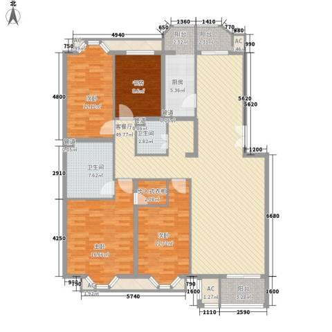 学风19114室1厅2卫1厨154.00㎡户型图