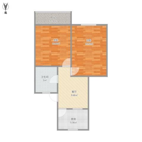 紫藤一村2室1厅1卫1厨71.00㎡户型图
