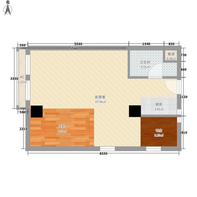 玉桥国际公寓60.00㎡一期1号楼标准层B户型(居住)户型2室1厅1卫1厨