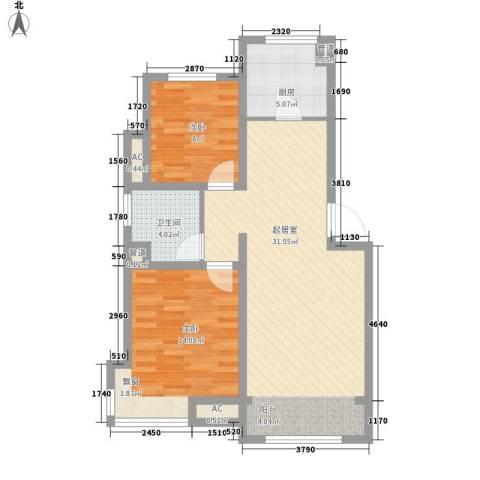 绿地世纪城2室0厅1卫1厨93.00㎡户型图