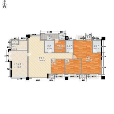 风华豪庭3室1厅3卫1厨120.91㎡户型图