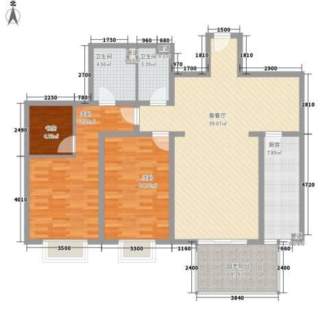 广贸大厦3室1厅2卫1厨100.09㎡户型图