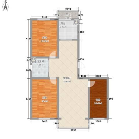 天一朝阳地矿花园3室1厅1卫1厨122.00㎡户型图