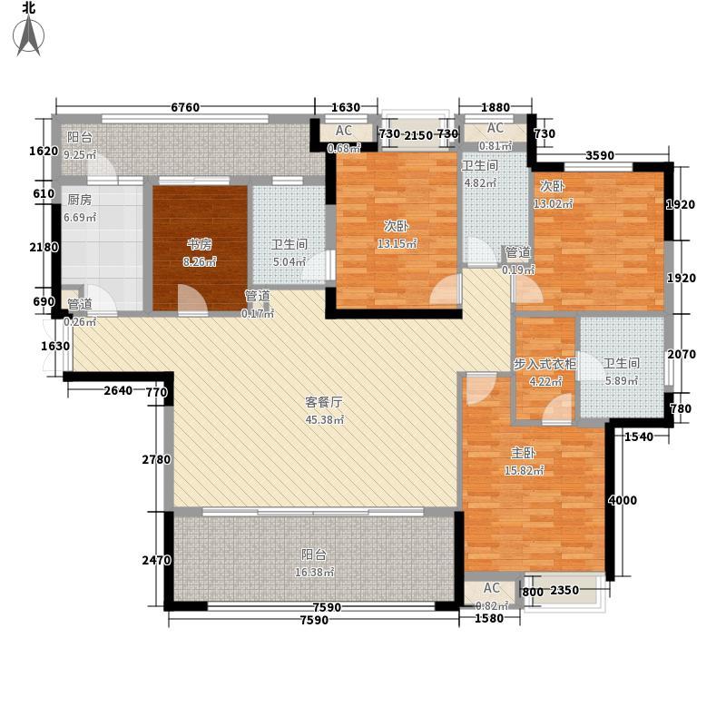 重庆天地雍江御庭雍江御庭8号楼(06-27层标准层)1户型4室2厅