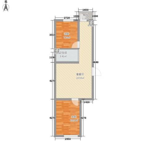 天一朝阳地矿花园2室1厅1卫0厨70.00㎡户型图